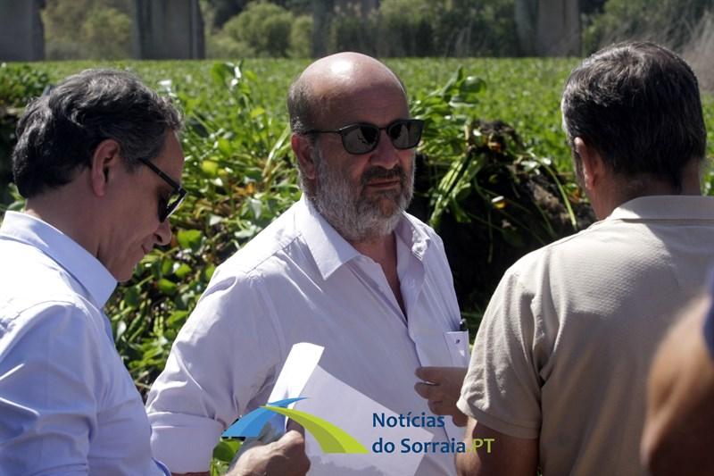 Ministro do Ambiente visitou trabalhos de limpeza de jacintos do rio Sorraia (Com Fotos)