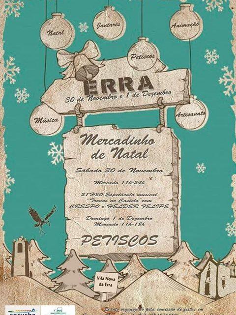 Mercado de Natal na Erra a 30 de Novembro e 1 de Dezembro
