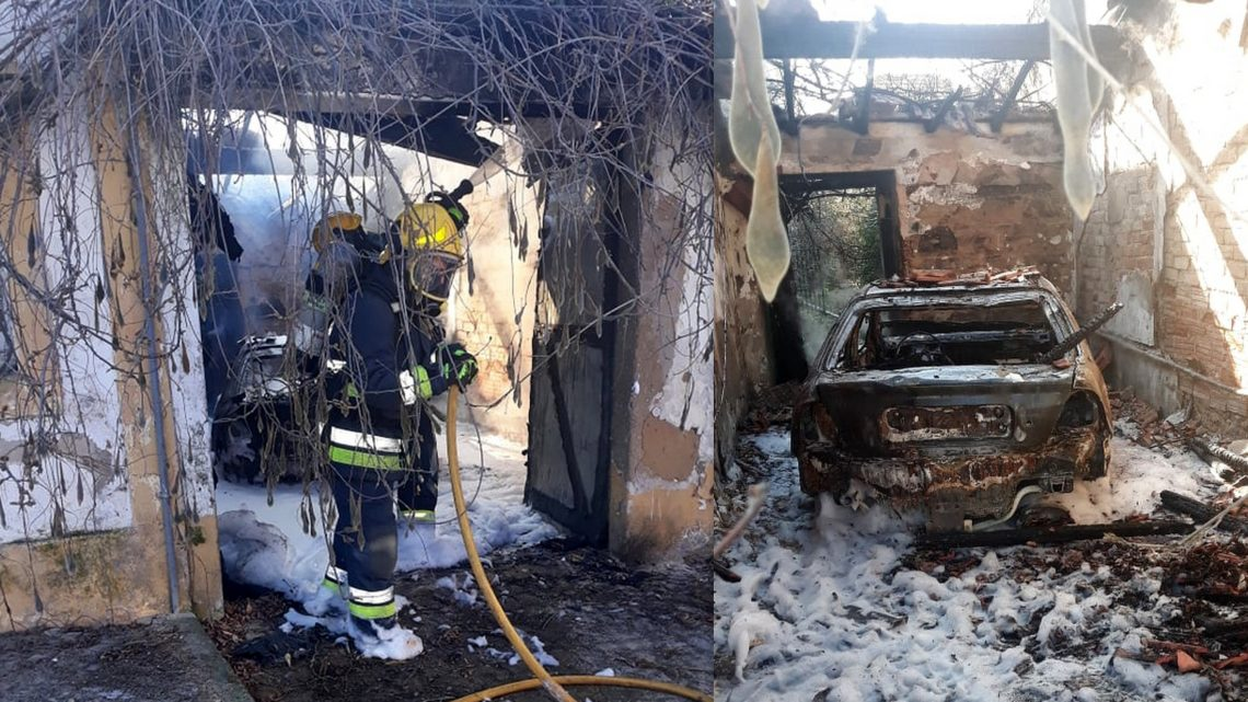 Carro destruído em incêndio em garagem em Salvaterra (Com Fotos)