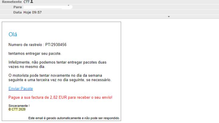 Alerta: E-mail de encomenda dos CTT é fraude